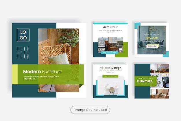 Set di banner modello di post social media per mobili dal design minimale