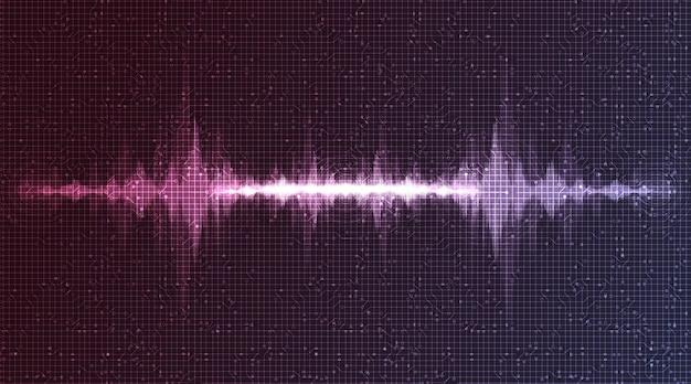 Minima onda sonora digitale con su sfondo viola scuro