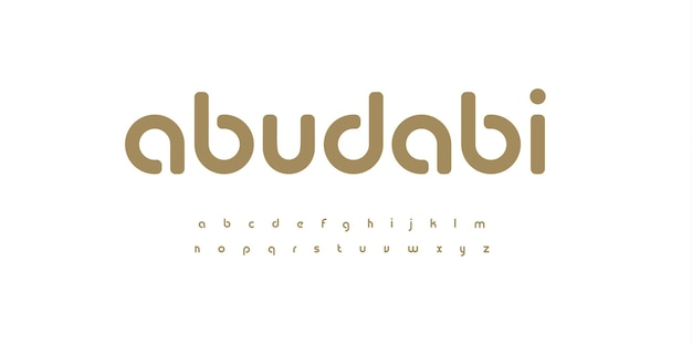 Carattere minimal elegante alfabeto minuscolo angoli arrotondati set di lettere bauhaus fashion style tipo golden