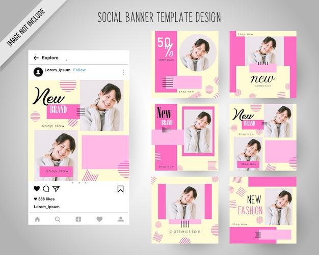 Minimal fashion social media banner per il marketing digitale