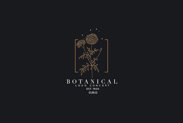 Stile femminile minimal con disegno moderno del giardino astratto organico con logo floreale in un logo botanico