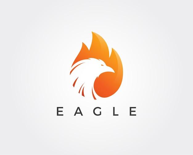 Modello di logo minimo dell'aquila di fuoco