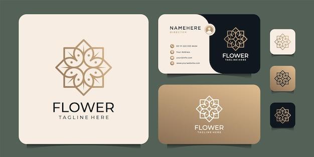 Logo fiore piatto oro minimal