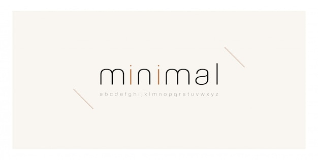 Minimal carattere creativo sottile linea moderna alfabeto.