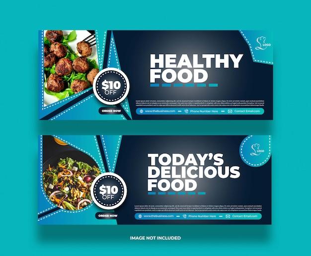 Banner di promozione post sui social media del ristorante di cibo minimo