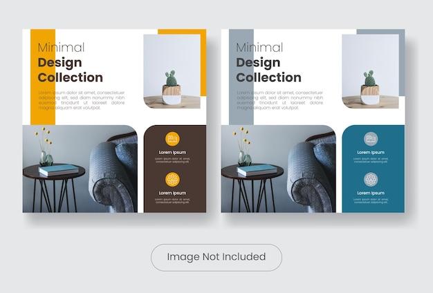 Collezione di mobili minimal design set di modelli di banner post sui social media