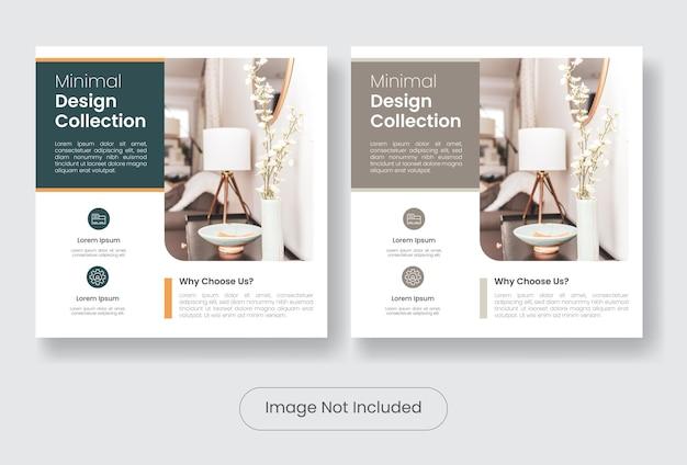 Set di modelli di banner per post sui social media dal design minimale