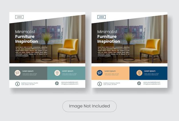 Set di banner modello di post social media mobili minimal furniture