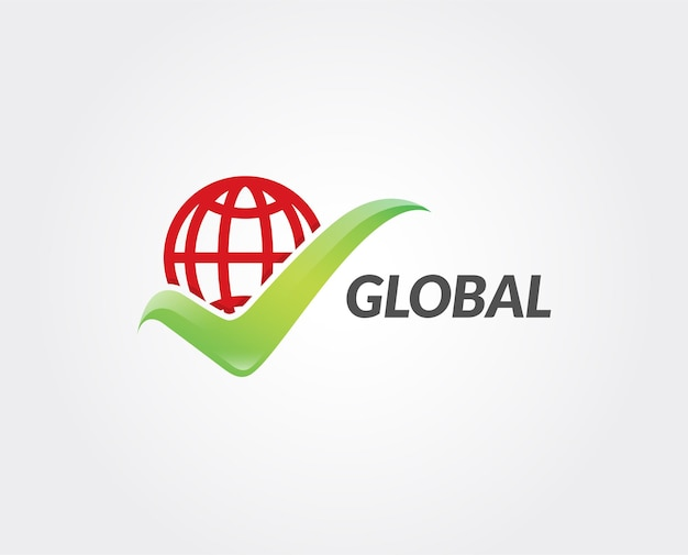 Modello di logo di segno di spunta globale minimo Vettore Premium