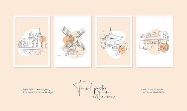 Set di illustrazioni vettoriali di viaggio minimali disegnati a mano per l'arte della parete o il design di poster