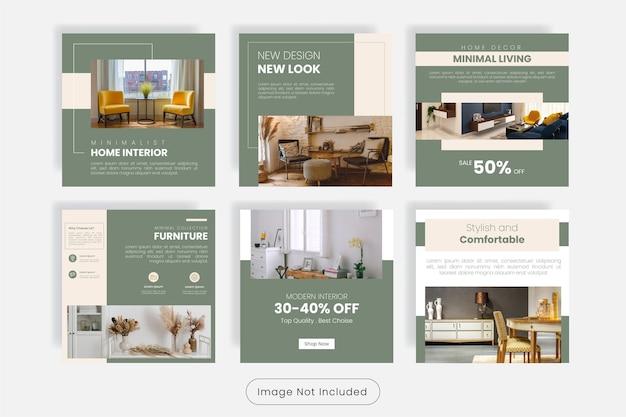 Set di modelli di banner per post sui social media di design d'interni per la casa minimal