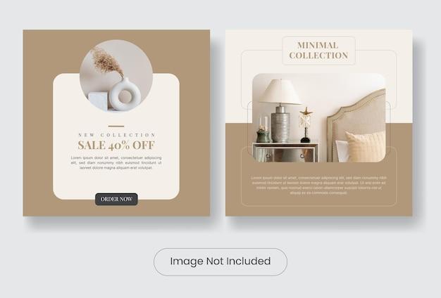 Set di modelli di banner post instagram interni casa minimal minimal