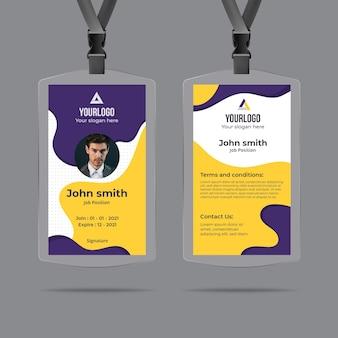 Modello di carta d'identità minima con forme astratte