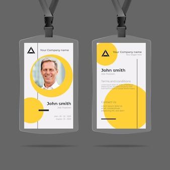 Design minimo di carte d'identità con foto