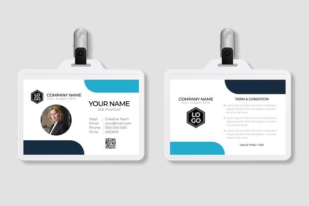 Modello di carte d'identità minimo con immagine