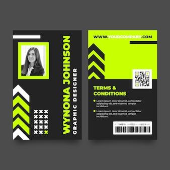 Modello di carte d'identità minimo con foto