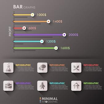 Modello di opzioni infografica minimal con grafici a barre