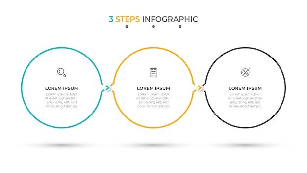 Opzioni o passaggi del modello di infografica minima 3