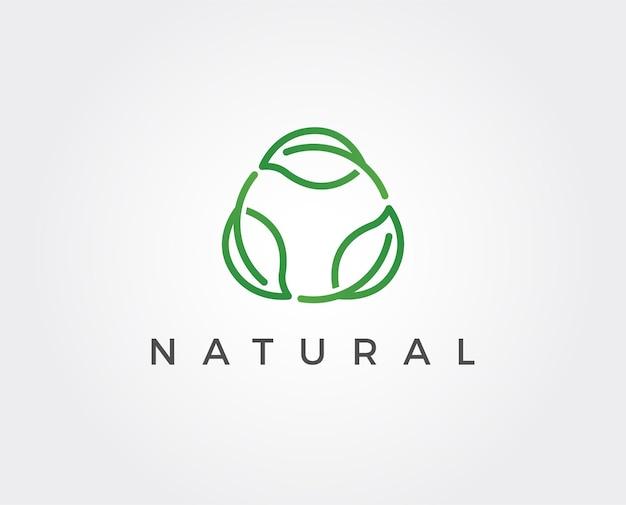 Modello di logo minimo foglie minimal