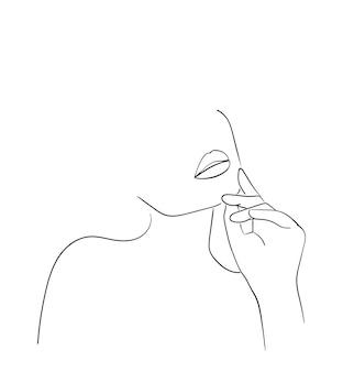 Donna di arte di linea minimale con la mano sul viso. disegno di linee nere. - illustrazione vettoriale