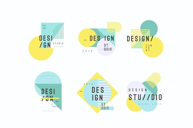 Collezione minimal logo con colori pastello Vettore Premium