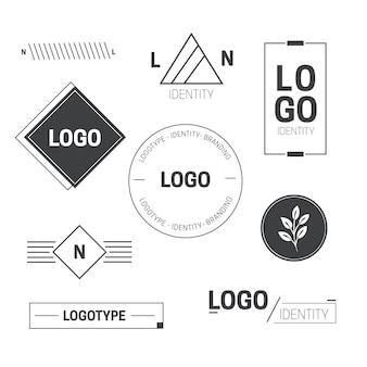 Collezione di elementi minimal logo in due colori Vettore Premium