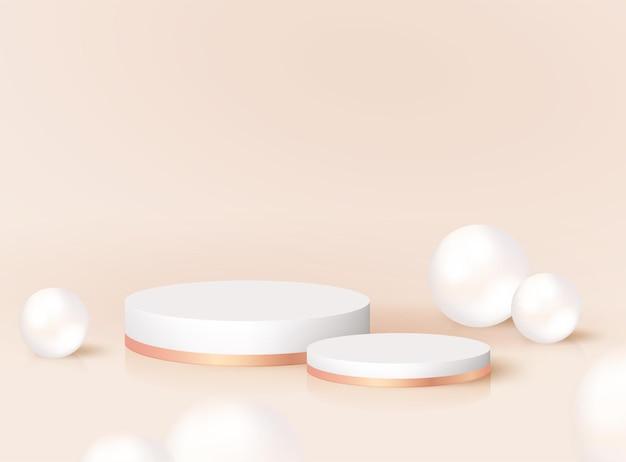 Podio rotondo realistico 3d moderno minimo con perle. piattaforma del piedistallo vettoriale per cosmetici di prodotti, esposizione di studi di moda. mockup di stand premio nomina, scenografia render design. palco vuoto geometrico