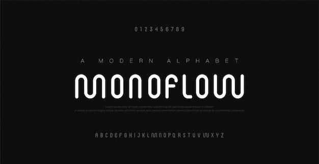 Caratteri e numeri di alfabeto moderni minimi. maiuscola urbana tipografica tipografia tipografica linea arrotondata maiuscola.