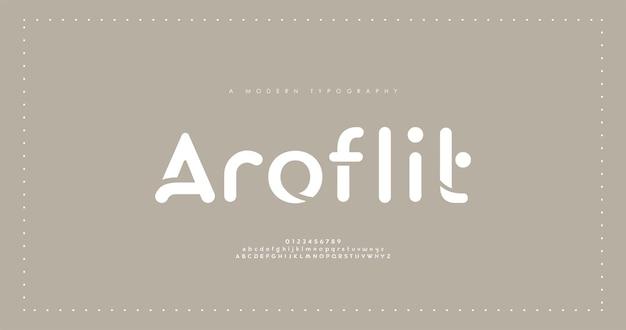 Caratteri alfabetici moderni minimi. carattere minimalista tipografia.