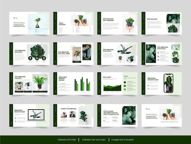 Modello di diapositive verde moderno minimale