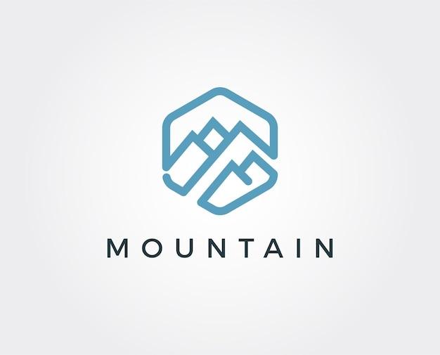 Modello di logo minimo di montagna
