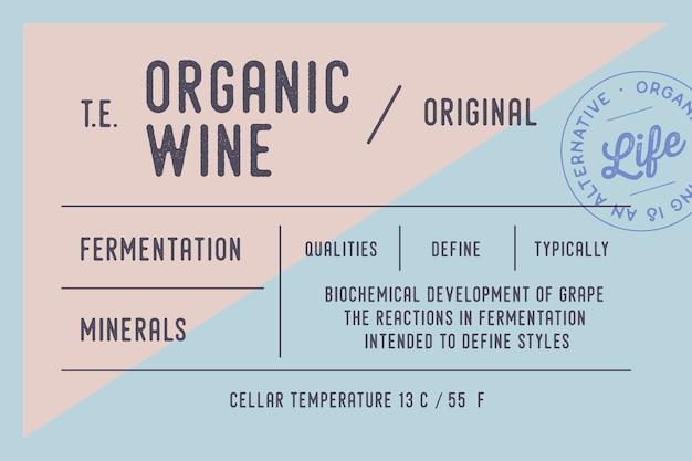 Modello di etichetta di vino biologico minimo