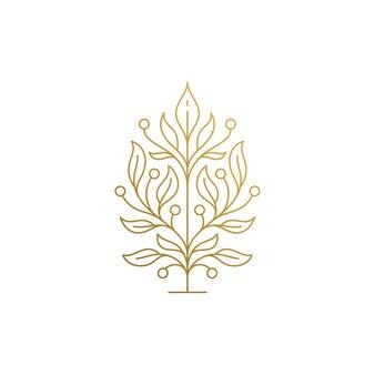 Il minimo del modello di progettazione di logo di contorno di albero in crescita con foglie