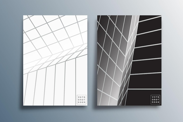 Modello di linee prospettiche minime per brochure, copertina di volantini, sfondo astratto, poster o altri prodotti di stampa. illustrazione vettoriale.