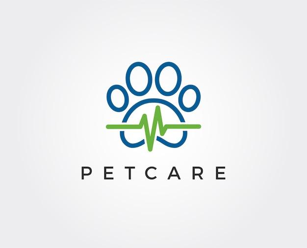 Modello di logo minimo per la cura degli animali domestici