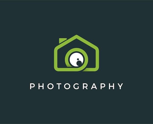 Illustrazione minima di vettore del modello di logo della casa della foto