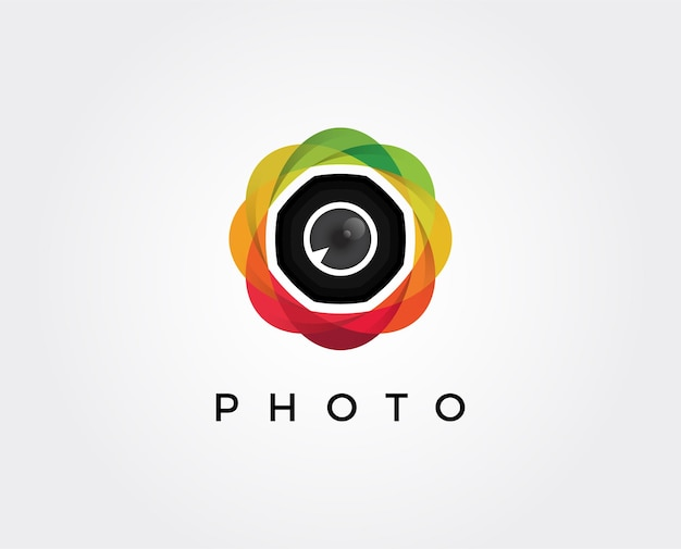 Illustrazione minima del modello di logo dell'obiettivo fotografico