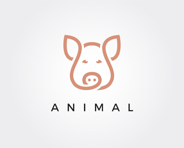 Modello di logo di maiale minimo