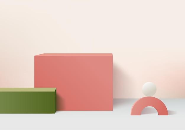 Podio rosa minimo e scena con rendering 3d in composizione astratta di sfondo, illustrazione 3d mock up forme della piattaforma della forma della geometria della scena per la visualizzazione del prodotto. palcoscenico per il prodotto in moderno.