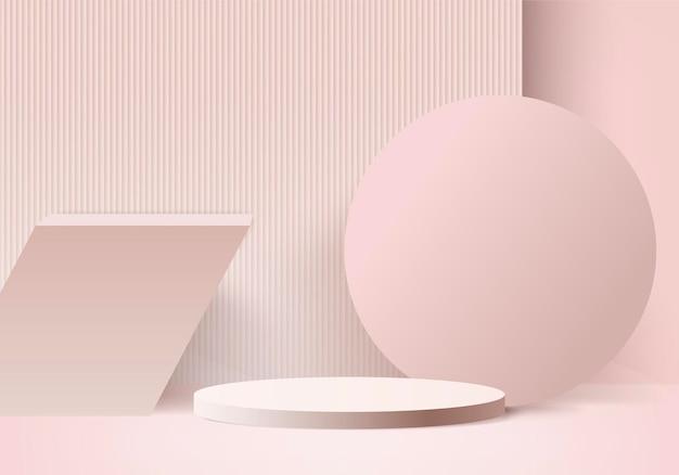 Podio rosa minimo e scena con rendering 3d in composizione astratta di sfondo, illustrazione 3d mock up forme della piattaforma della forma della geometria della scena per la visualizzazione del prodotto palcoscenico per il prodotto in moderno.
