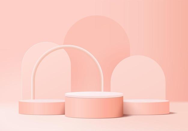 Podio rosa minimo e scena con vettore di rendering 3d in composizione astratta di sfondo, illustrazione 3d mock up forme della piattaforma di forma della geometria della scena per la visualizzazione del prodotto. palcoscenico per il prodotto in moderno.