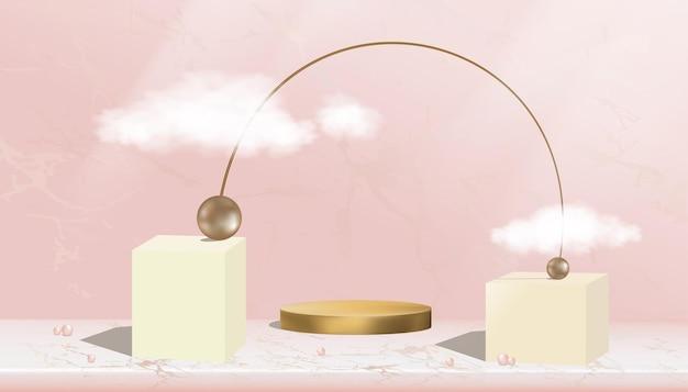 Espositore minimale da podio con forma geometrica astratta e perline in metallo bronzo