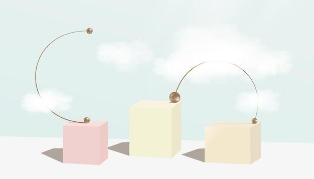 Vetrina da esposizione minimale con nuvole, forma geometrica astratta e perline in metallo bronzo
