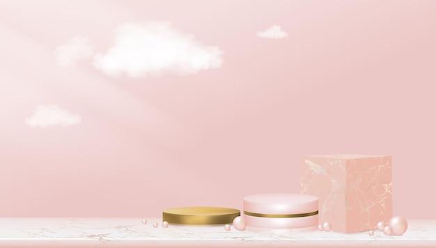 Vetrina espositiva da podio minimal con forma geometrica in oro rosa e giallo, supporto cilindrico