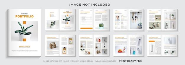 Modello di progettazione del portfolio minimo o layout del modello di progettazione del catalogo dei prodotti
