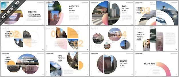 Presentazioni minimali design, modelli di portfolio con elementi circolari. modello multiuso per slide di presentazione