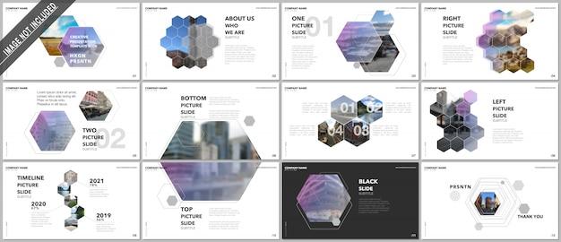 Design di presentazioni minimali, modelli vettoriali con esagoni ed elementi esagonali.