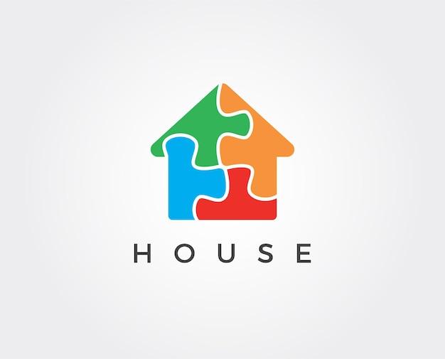 Modello di logo casa puzzle minimo minimal