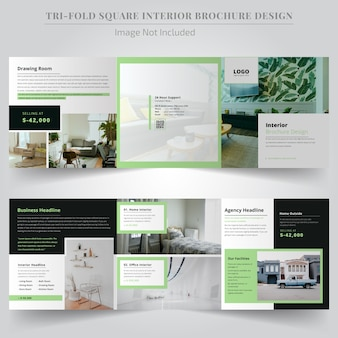 Minimal real estate square tri fold brochure design