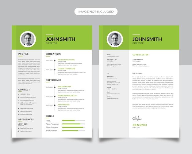 Design minimale del curriculum con accento verde